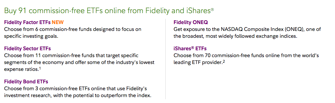 August 14, 2017: Fidelity Commission Free ETFs Update