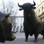 Bull and bear statues are pictured outside Frankfurt's stock exchange